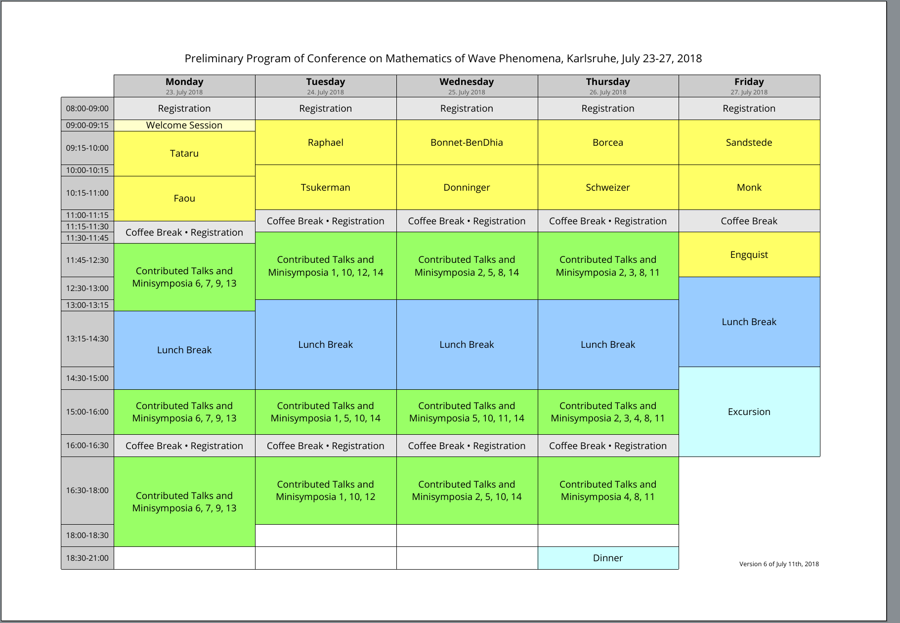 image of the preliminary program